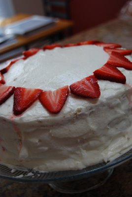 Vanilla Almond Cake with Strawberry Filling