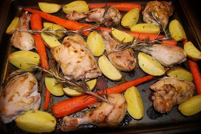 Mustard Rosemary Chicken with Carrots & Potatoes